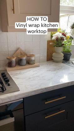 Vinyl Wrap Kitchen, Kitchen Wrap, Kitchen Small, Home Decor Kitchen, Kitchen Ideas, Home Kitchens, Kitchen Hacks, Kitchen Interior, Kitchen Worktop