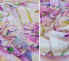 Silk Scarf Hand Painted Scarf White Floral Scarf Ready to Ship