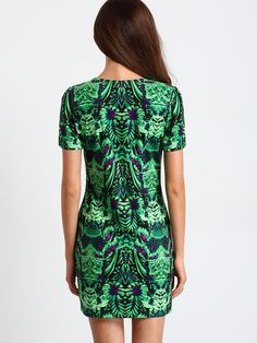 Green Short Sleeve Vinatge Print Bodycon Dress