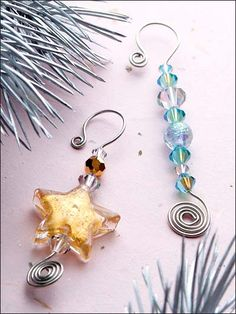 Celestial sun catcher ornaments for windows, patios, or attached to gift wraps Wire Ornaments, Ornament Hooks, Beaded Christmas Ornaments, Christmas Decorations, Snowman Ornaments, Garden Ornaments, Wire Crafts, Christmas Projects, Holiday Crafts
