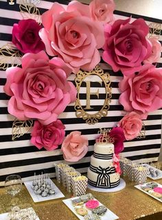 Kate Spade Inspired Paper Flowers, Bridal Shower Decor, Photo Backdrops, Birthday Party Decor, Pink Paper Flowers