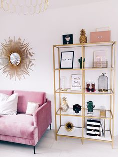 pink sofa + gold bookcase for office