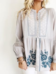 Slate Babydoll Top Mother of Pearl Buttoned Front White + Dark Teal Floral Embroidery Long Sleeve w/Buttoned Cuff Gathered Waist + Sleeve Mandarin Collar Light, Flowing Fit