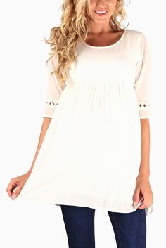 White-Crochet-Accent-Sleeve-Maternity-Top
