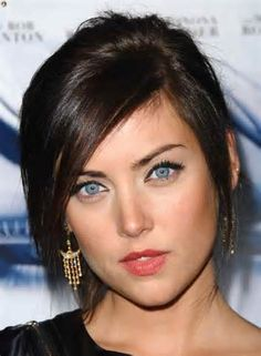 ... on straight, layered hair with long, sideswept bangs . Steal her style
