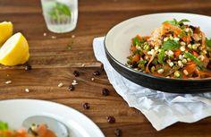Raw mrkvový mungo salát s mátou a koriandrem