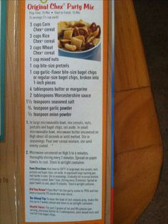 Chex mix recipe...int he UK I use 6 C Shreddies, 3 C Cheerios, 2 C of Pretzels (one baked in and one added after) and 1 C Pecans, 1/2 set in sauce before pouring over cereal mix and half after baking - I only do 5 Tbs Salt (closer to 75g), double the ws sauce and the garlic powder and use garlic salt instead of onion powder... 250* (gasmark 1/2) in oven stirring every 15 min ... with one final drizzle of ws sauce at the half way point