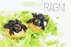 Crostini con ragni! Il tutorial sul blog! http://partymamma.net/