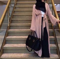 Open Style Abaya with Black Shayla