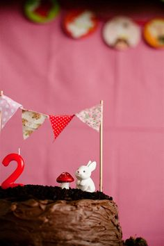 I'm leading towards a woodland part (but last year's cake had bunting ) but thinking toadstools will be involved