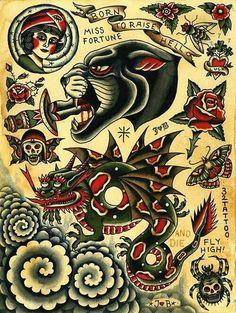 Traditional old school Tattoo Tattoos 3d, Retro Tattoos, Body Art Tattoos, Vintage Tattoos, American Style Tattoo, American Tattoos, Traditional Style Tattoo, Traditional Tattoo Flash, Desenhos Old School