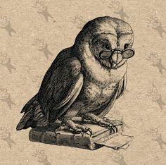 Image Owl Book Instant Download Digital printable vintage clipart graphic scrapbooking,decoupage,burlap,kraft, t-shirt, decor etc HQ 300dpi by UnoPrint on Etsy