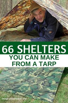 66 Shelters You Can Make From A Tarp — Having a tarp as part of your bug out bag is essential, it's lighter than a tent, easily carried on your backpack and so versatile...  you can make 66+ shelters with a single tarp. I personally have a 10 x 10 blue tarp but I want to purchase either a brown or camouflage tarp just to blend in more if I had to bug out. #prepper #prepping #preparedness #survival #shelter #bugout #camping #diyshelter #shtf