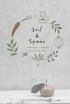 Soil and Spoon branding and identity. Love the #illustrations over a faded photograph. #art
