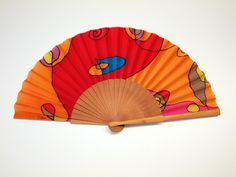 Handpainted Silk hand fan-Wedding hand fan- Silk hand fan-Bridesmaids- Spanish hand fan - Red Hand fan - Yellow Hand fan - Orange Hand fan by gilbea on Etsy