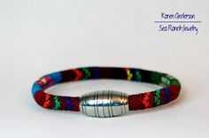 Men's Bracelet Tribal Brown-Blue Bright by SeaRanchJewelry