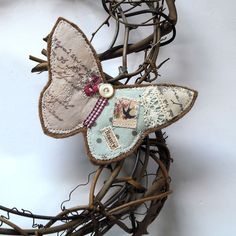 Shabby Chic butterfly brooch