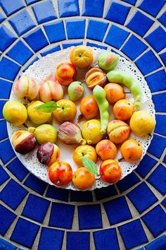 A plate of summer produce, deliciously recast in marzipan.