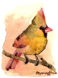 ACEO Limited Edition 1/25 Baby cardinal by annalee377 on Etsy, $4.00
