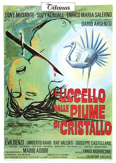 The Bird with the Crystal Plumage (L'uccello dalle piume di cristallo, aka The Phantom of Terror) (1970, Italy / Germany) Italian one sheet poster. Dario Argento giallo.