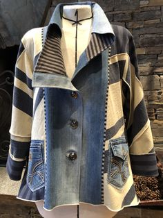 Redo Clothes, Blanket Jacket, Blazer Pattern, Sewing Coat, Fall Outfits, Fashion Outfits, Altering Clothes, Denim And Lace, Refashion