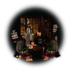 """Orange And Black Halloween Light Scene"" by fsg-designs ❤ liked on Polyvore featuring art, Halloween and orangeandblack"