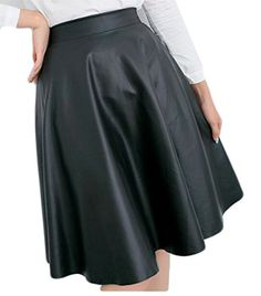 5eb9e638dd Pivaconis Womens Stylish Wild High Waist ALine Pleated Midi Faux Leather Skirt  Skirts Black OS ** ** AMAZON BEST BUY ** #SummerOutfit