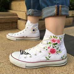 48b527486dac Custom Design Converse Wen Hand Painted Shoes Floral Flowers High Top White  Canvas Sneakers Birthday Gifts