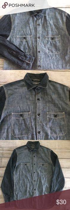 """Express Denim Chambray Button Front Shirt Small Nice pre-owned condition.  Pit to pit 20.5"""". Length (mid shoulder to bottom hem) 28"""". Sleeve (shoulder hem to end of sleeve) 25.5"""". Inv B.  100% Cotton Express Shirts Casual Button Down Shirts"""