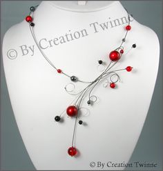 red, gray, black necklace, wedding necklace, bridesmaids necklace,bridesmaids gifts, swirls, funky jewelry, brides necklace. $45.00, via Etsy. - kjs
