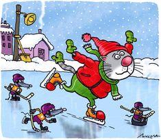 Winter cat painting. Nikolaj Voroncov
