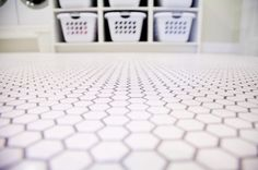American Olean honeycomb tile for laundry room from @todaysmama