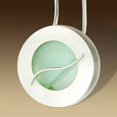 Mar Jewelry - Brushed Sterling Silver Pendant With Sea Glass
