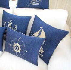 """Amazon.com - MagicPieces Cotton and Flax Nacy Style Land and Sea Decorative Pillow Cover Case A 18"""" x 18"""" Square Shape-ocean-beach-sea-print..."""