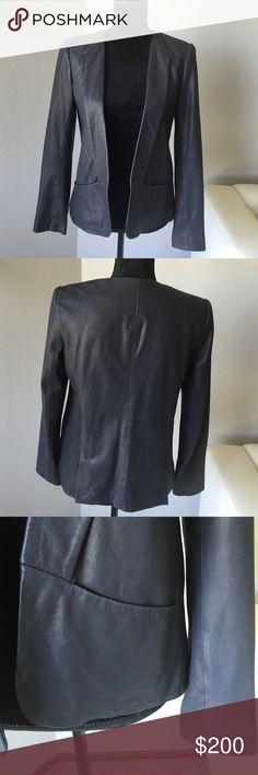 Theory navy leather blazer Butter soft navy leather jacket by Theory. Very lightly worn. Wonderful piece to add to any wardrobe Theory Jackets & Coats Blazers