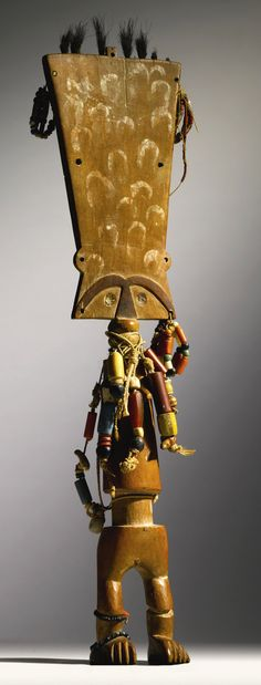 Africa | Power figure ~ Akuaba ~ from the Fante people of Ghana | Wood, glass beads and natural fiber | 2nd half of the 20th century