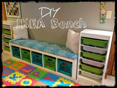 Cheap And Ingenious Ways To Have The Best Classroom Ever Have a spare Ikea Kallax shelf hanging around the house? Turn it into a bench.Have a spare Ikea Kallax shelf hanging around the house? Turn it into a bench. Trofast Ikea, Ikea Kallax Shelf, Ikea Shelves, Ikea Storage, Bedroom Storage, Storage Cabinets, Cube Storage Bench, Lego Storage, Diy Storage Bench With Cushion