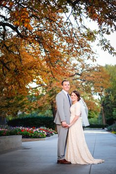 Bride and Groom Portraits. Salt Lake City Temple. Fall Wedding.
