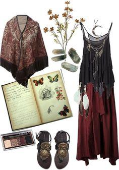 Hippie goth: Strega by zitahawthorne Hippie Goth, Bohemian Mode, Bohemian Style, Boho Chic, Fashion Moda, Boho Fashion, Fashion Outfits, Fashion Trends, Pagan Fashion