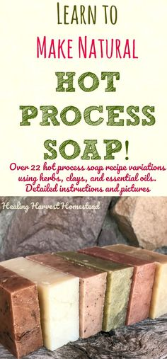 Have you ever wanted to learn to make your own handmade soap with confidence? Find out how to make hot process soap. This detailed picture tutorial also includes information about using herbs, clays, essential oils, and other natural ingredients in your hot process soap. The hot process recipe is no-fail and works every time! Have fun and make natural handmade soap! #soapmaking