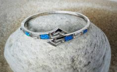 Blue opal silver meander cuff greek key cuff by ThetisTreasures