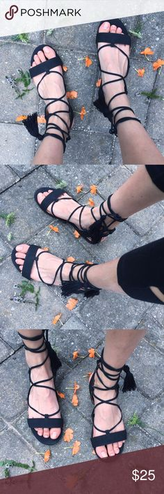 Aldo Tassle Lace Up Sandals Worn just one time • excellent condition •  each sandal has two tassels • laces up to the lower calf • flat (no heel) • super comfy to walk in • uber cute • goes well with most outfits! Aldo Shoes Sandals