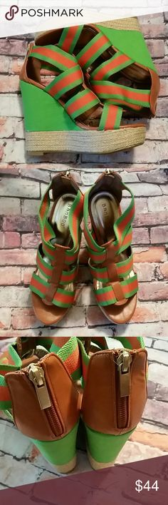 Bamboo Espadrilles Wedges Strappy Green Ermagawd!  Bamboo does not disappoint with this fabulous pair of shoes.  Bright green and orange espadrilles, wedge heels in original packaging.  New! Bamboo  Shoes Espadrilles
