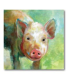 Another great find on #zulily! Colorful Quirky Pig Wrapped Canvas #zulilyfinds