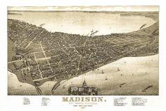 Print (Madison, Wisconsin # 2 - (1885) - Panoramic Map)