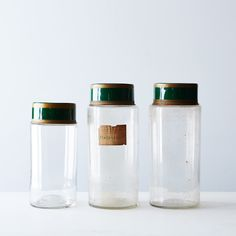 Vintage Pharmacy Jar - These vintage jars originally held herbs and tonics in pharmacies. Some still have their original labels, and each one is made of glass with metal lids.