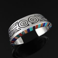 Cuff | Lonn Parker (Navajo Diné).  Sterling Silver, Natural Turquoise, Coral, Spiny Oyster, Lapis, and Sugilite