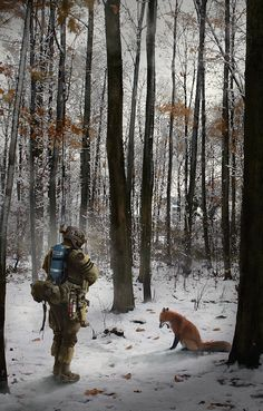 Forest patrol by LMorse on deviantART § Interesting art work - love the fox! TAB