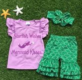 """""""Mermaid Kisses Starfish Wishes"""" Cotton Short Set #boutique-outfits #new #newborn-clothing #newborn-sets #perfect-sets #spring-line"""