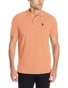 U.S. Polo Assn. Men's Twisted Yarn Polo Shirt, Canoe Orange, Small